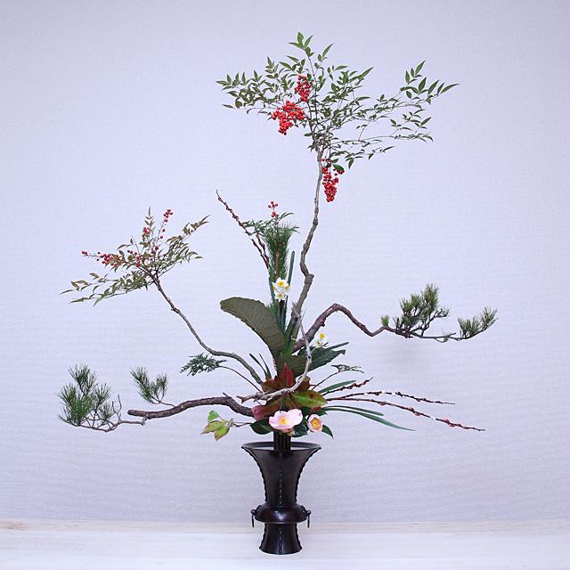 古典立花 南天、松、赤目柳、椿、かなめ、枇杷、水仙、桧、若松