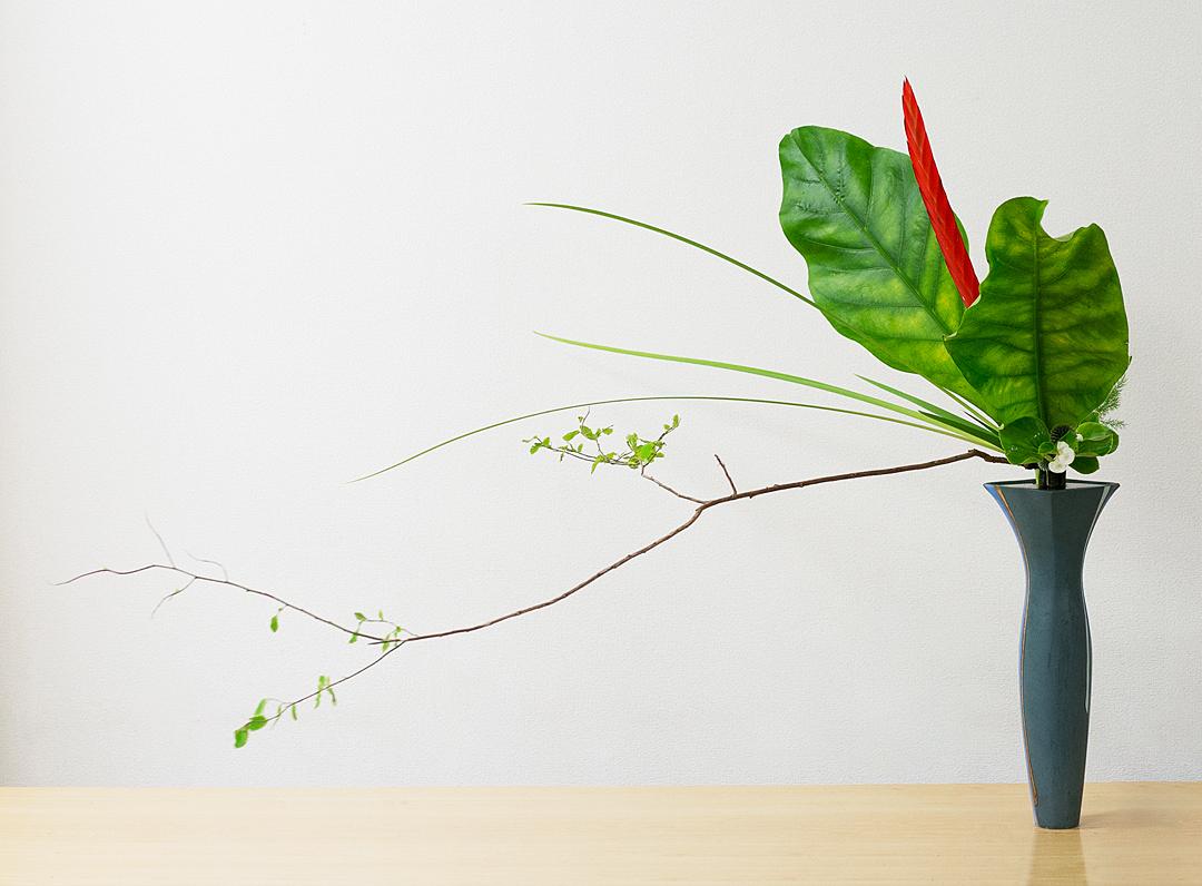 立花新風体 アンスリウム、アナナス、夏はぜ、オクロレウカ、ベゴニア、瑠璃玉薊、アスパラ