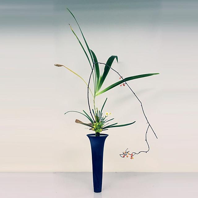立花正風体 竹著莪、水仙、つるうめもどき、シーグレープ、寒菊、著莪、檜
