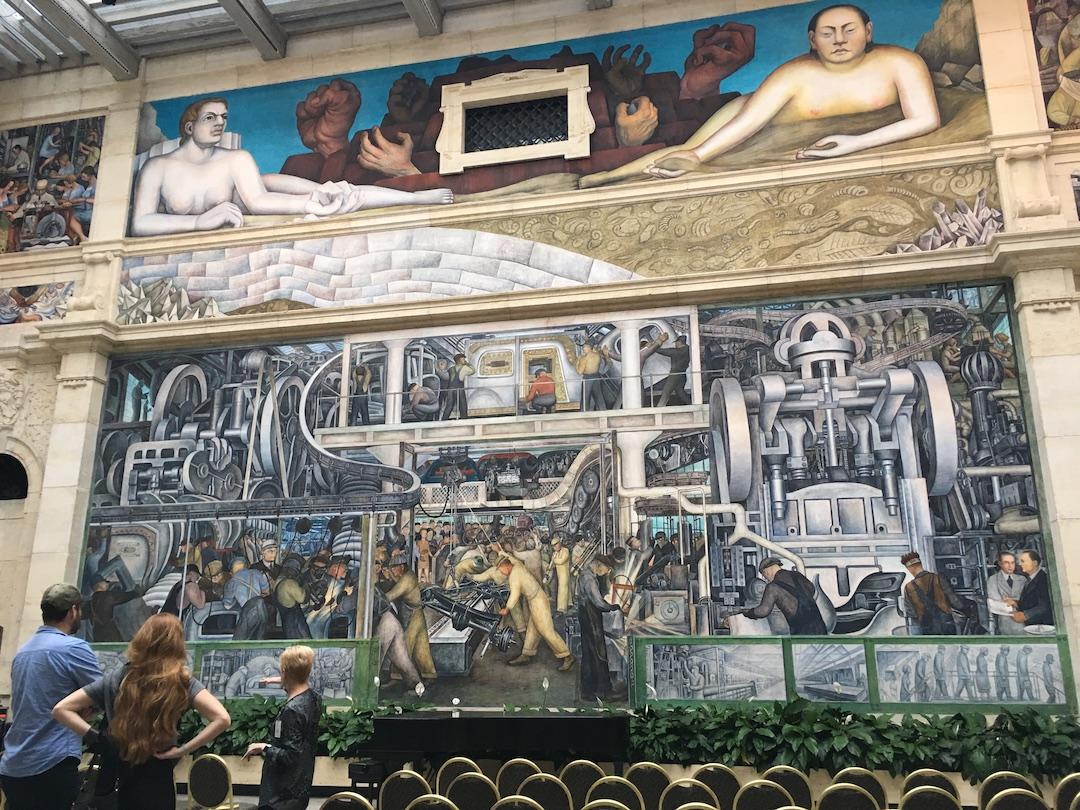 デトロイトならでは、フォードの自動車工場を題材にした絵