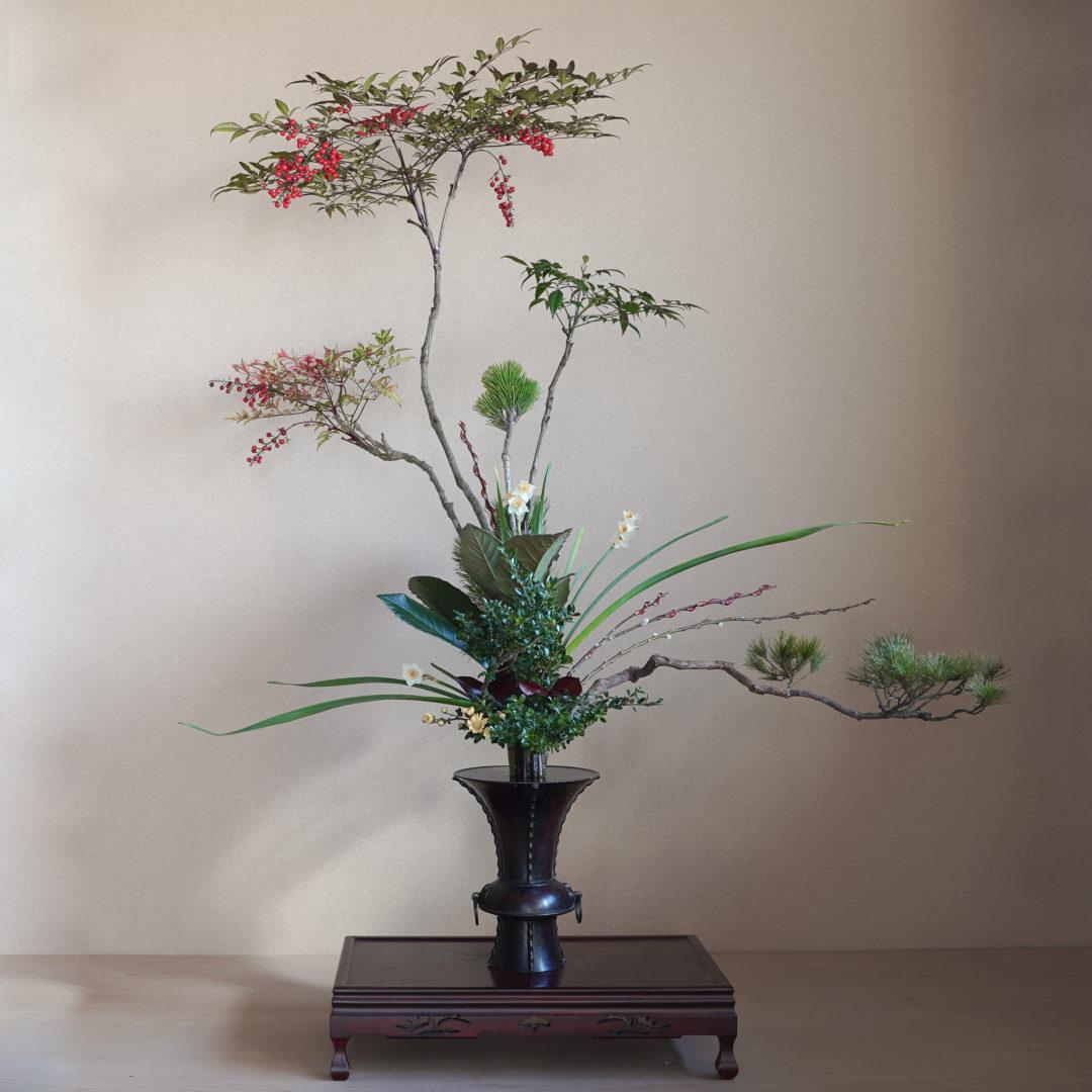 古典立花 南天、水仙、松、赤芽柳、柘植、枇杷、かなめ、小菊