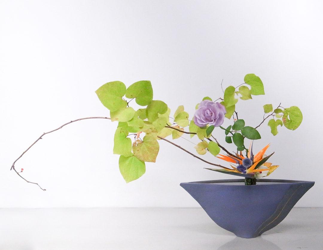 立花新風体 万作、ばら、ストレリチア、瑠璃玉薊、つるうめもどき、カラー、シーグレープ